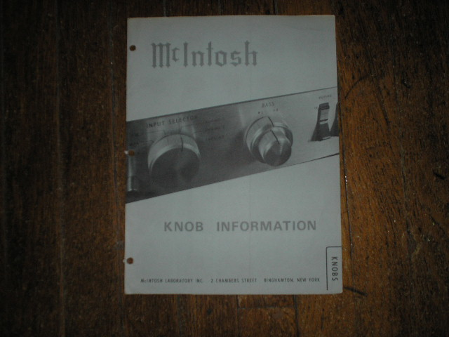 McIntosh Knob Manual has photos of the knobs and what model they fit.  Parts Manual