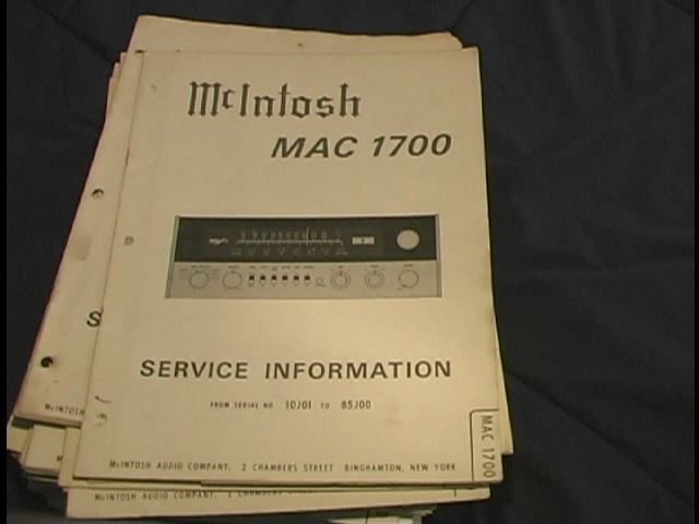 MAC 1700 Receiver Service Manual Starting with Serial No 10J01  MCIntosh