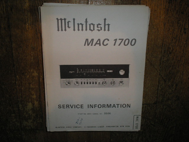 MAC 1700 Receiver Service Manual Starting with Serial No 30J00  MCIntosh