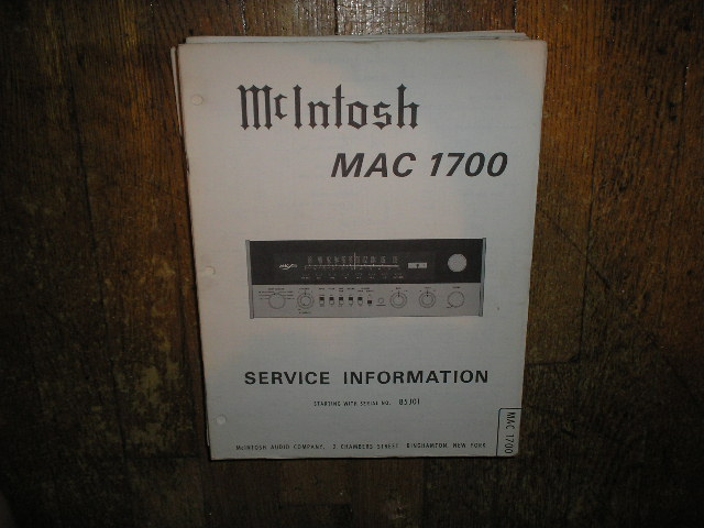 MAC 1700 Receiver Service Manual Starting with Serial No 85J01  MCIntosh