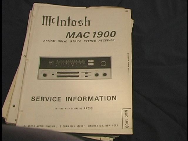 MAC 1900 Receiver Service Manual Starting with Serial No 1X001  MCIntosh