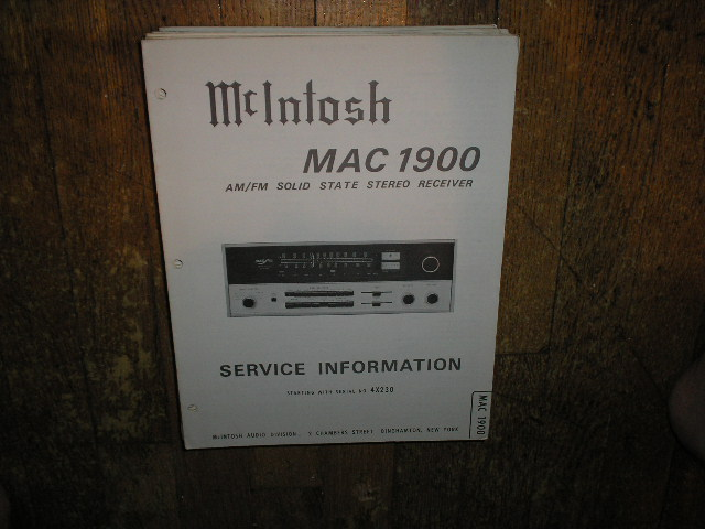 MAC 1900 Receiver Service Manual Starting with Serial No 4X230  MCIntosh