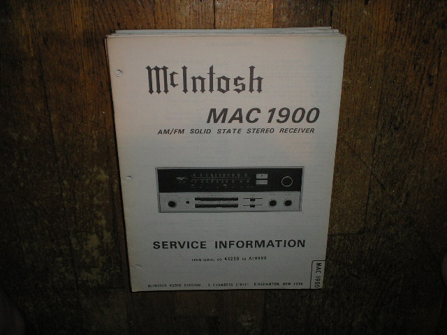 MAC 1900 Receiver Service Manual Starting with Serial No 4X230 to AL9999  MCIntosh