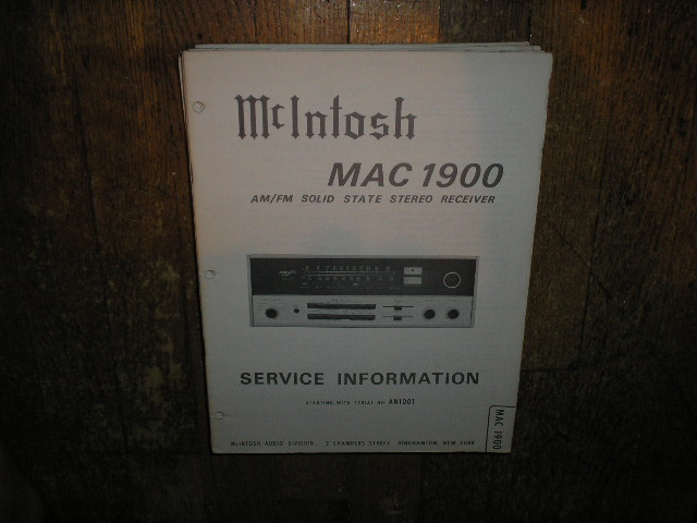 MAC 1900 Receiver Service Manual Starting with Serial No AN1001  MCIntosh