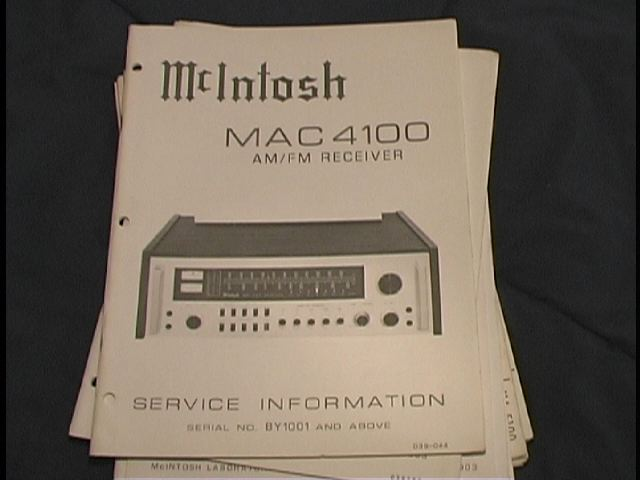MAC 4100 Receiver Service Manual Starting with Serial No BY1001 and Above  MCIntosh