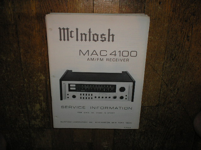 MAC 4100 Receiver Service Manual Starting with Serial No BY1001 to BY3002  MCIntosh