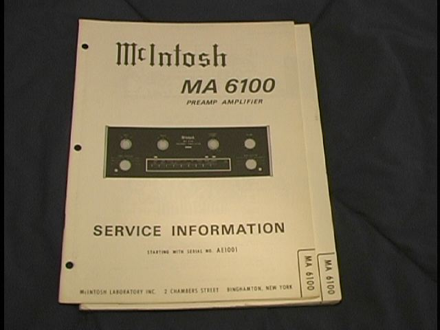 MA 6100 Pre-Amp Amplifier Service Manual Starting with Serial No AE7150