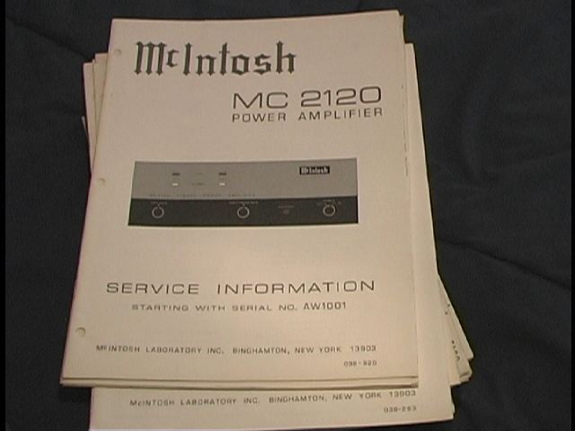MC 2120 Power Amplifier Service Manual for Serial No. AW1001 and Up.