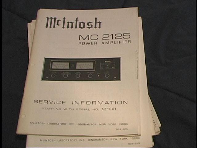 MC 2125 Power Amplifier Service Manual for Serial No. AZ1001 to AZ2804