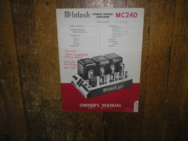 MC 240 Power Amplifier Operating Instruction Manual