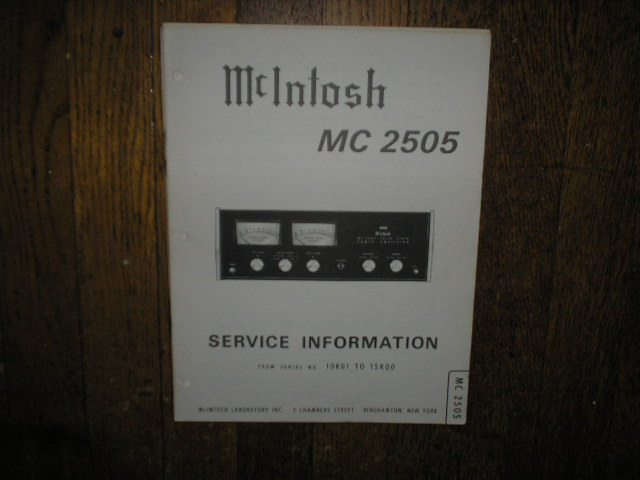 MC 2505 Amplifier Service Manual for Serial No. 10K01 to 15K00