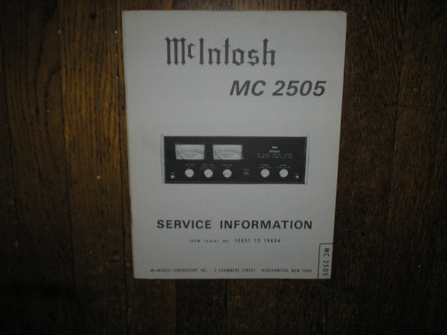 MC 2505 Amplifier Service Manual for Serial No.18K51 to 19K84