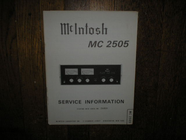 MC 2505 Amplifier Service Manual for Serial No.26K01 and Up.