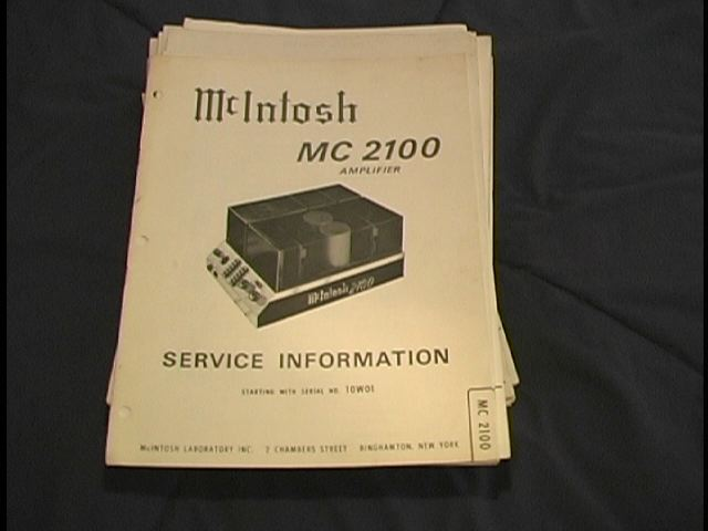 MC 2100 Power Amplifier Service Manual Starting with Serial No 10W01