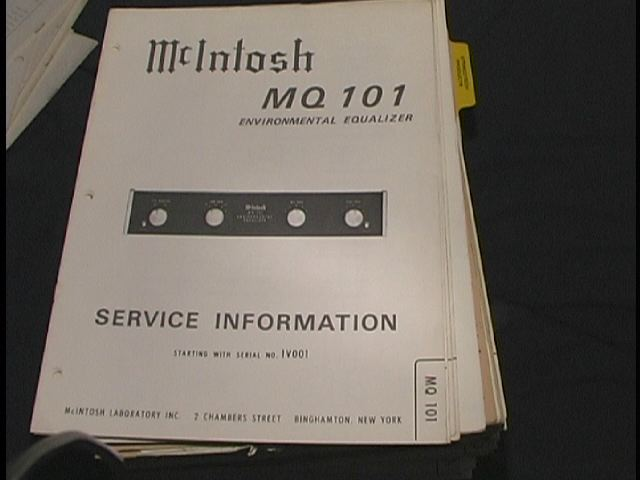 MQ 101 Enviromental Equalizer Service Manual Starting With Serial # 1V001 and up.