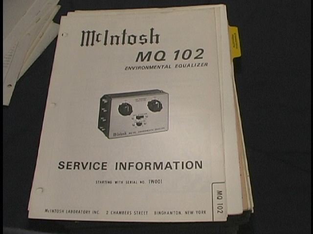 MQ 102 Enviromental Equalizer Service Manual Starting With Serial # 1W001 and up.
