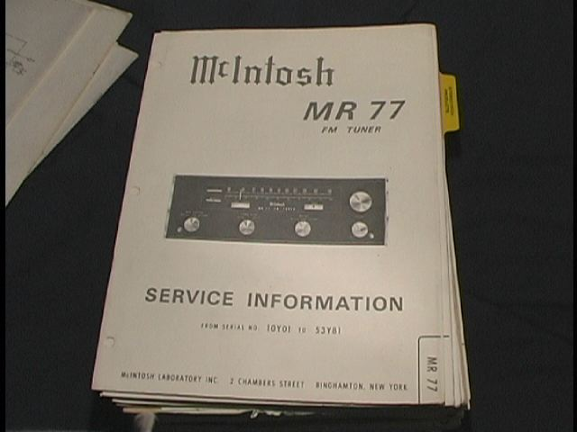 MR-77 FM Tuner Service Manual Serial No. 10Y01 and Up.