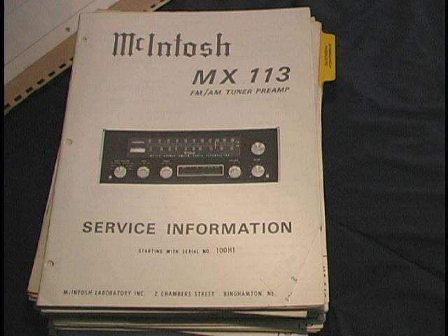 MX-113 Tuner Pre-Amplifier Service Manual Serial No.100H1