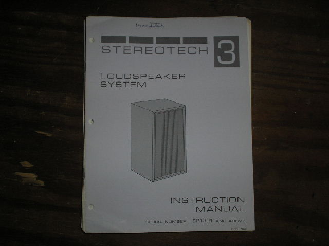 STEREOTECH 3 LoudspeakerService Manual for Serial Number BP1001 and above..