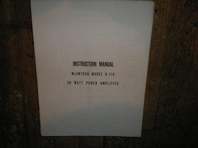 A-116 30 Watt Power Amplifier Service Manual.... See MC30 also..