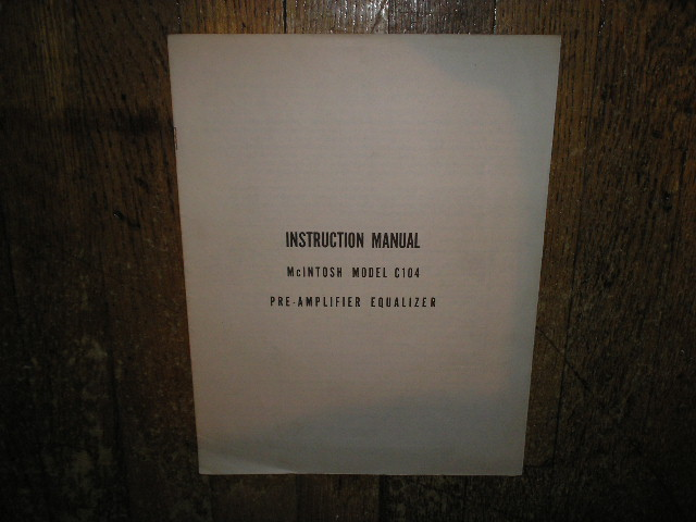 C-104 Pre-Amplifier Equalizer Service Manual