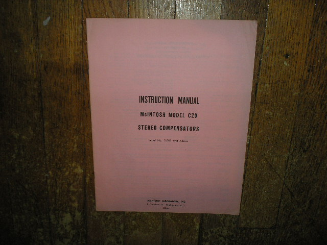 C-20 Audio Compensator Service Manual Starting with Serial No 1L001 and Up