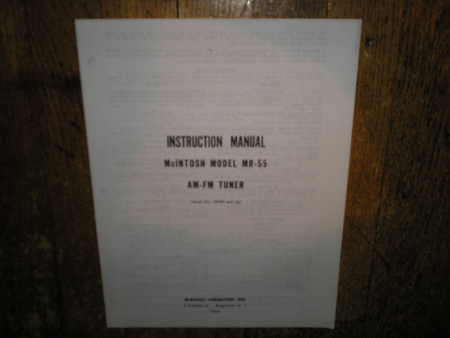 MR 55 AM FM Tuner Service Manual Starting with Serial No 1K000 and Up