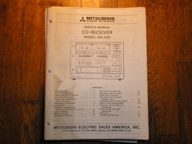 DA-100 CD RECEIVER Service Manual  MITSUBISHI