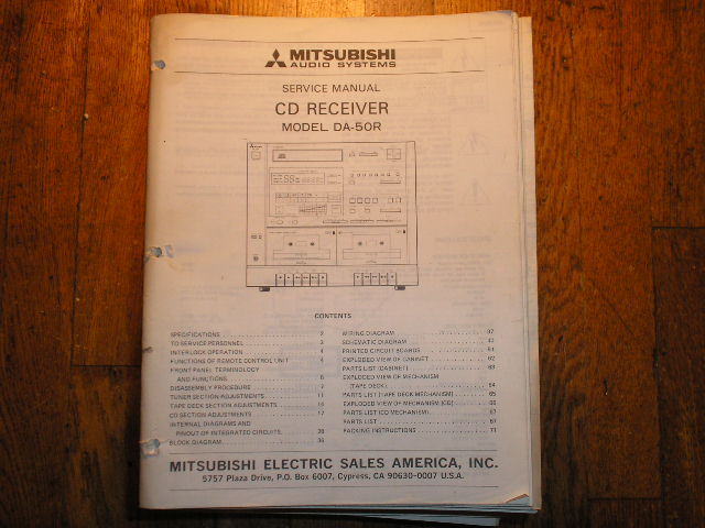 DA-50R DA-51 DA-51R CD RECEIVER  Service Manual