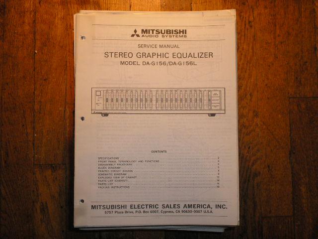 DA-G156 DA-G156L Graphic Equalizer Service Manual