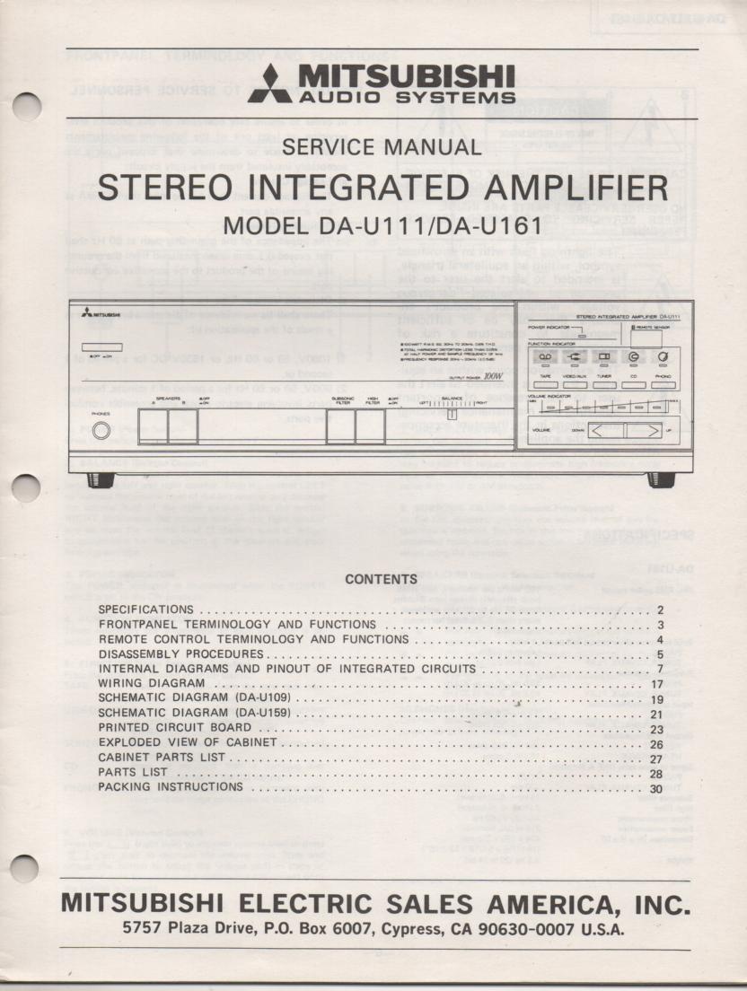 DA-U111 DA-U161 AMPLIFIER Service Manual