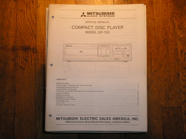 DP-103 CD PLAYER Service Manual