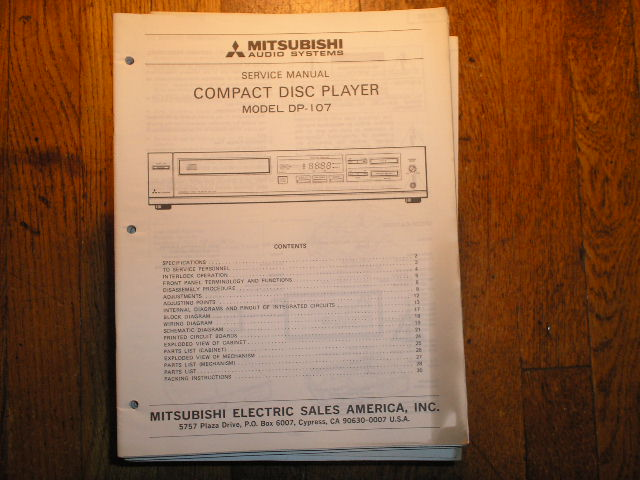DP-107    CD PLAYER  Service Manual sm-5015