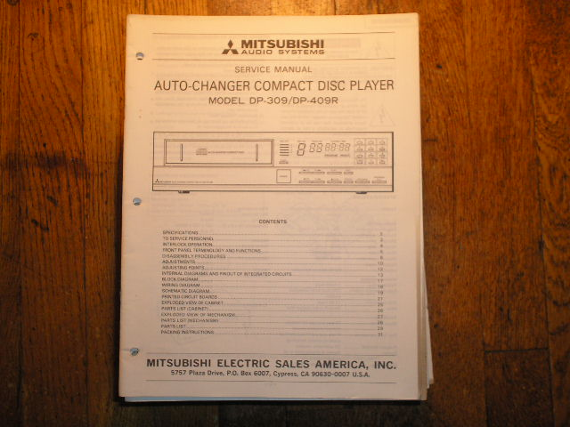 DP-309 DP-409 CD Player Service Manual 6013
