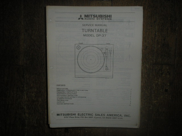 DP-37 TURNTABLE Service Manual  MITSUBISHI