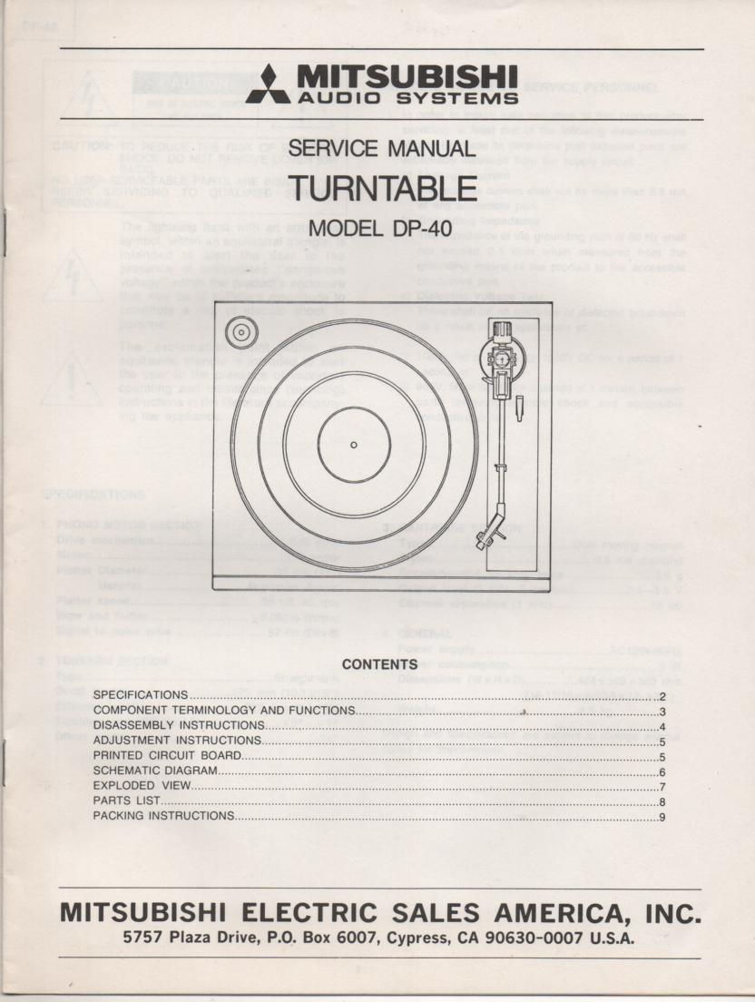 DP-40 TURNTABLE Service Manual  MITSUBISHI