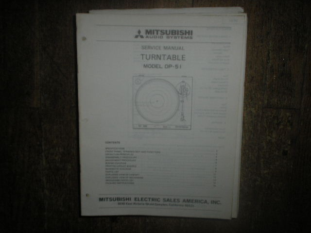 DP-51 Turntable Service Manual