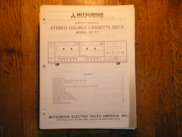 DT-77 Cassette Deck Service Manual