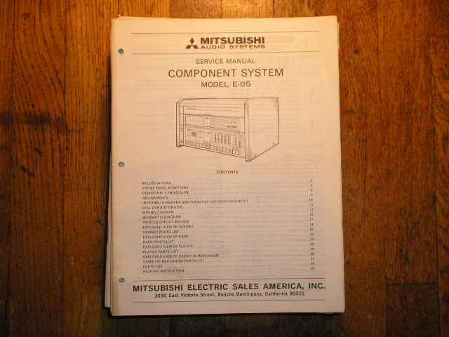 E-05 COMPONENT SYSTEM Service Manual