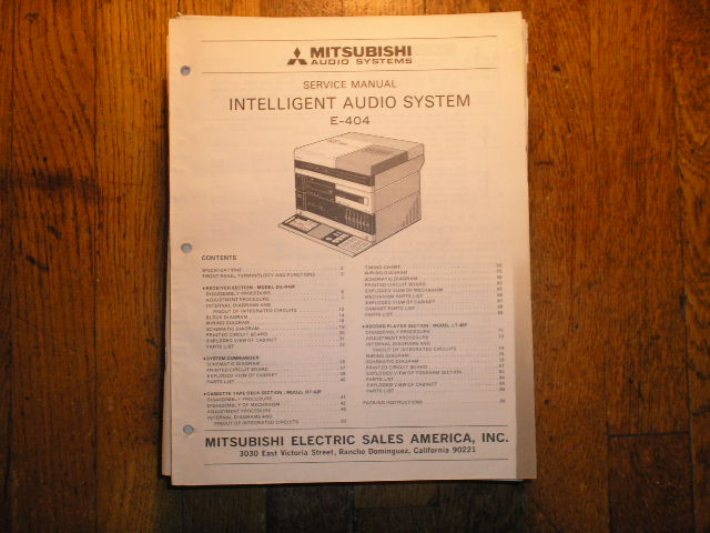 E-404 INTELLIGENT AUDIO COMPONENT SYSTEM Service Manual