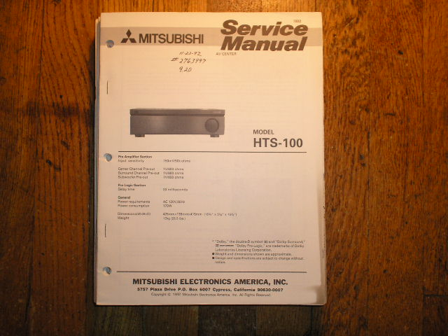 HTS-100 AUDIO VIDEO CENTER  Service Manual