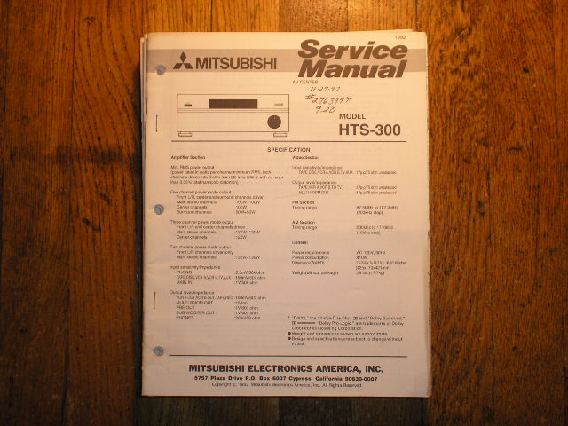 HTS-300 AUDIO VIDEO CENTER Service Manual  MITSUBISHI