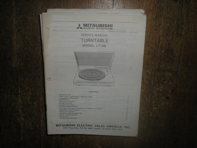 LT-46 Turntable Service Manual
