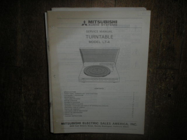 LT-4 TURNTABLE Service Manual