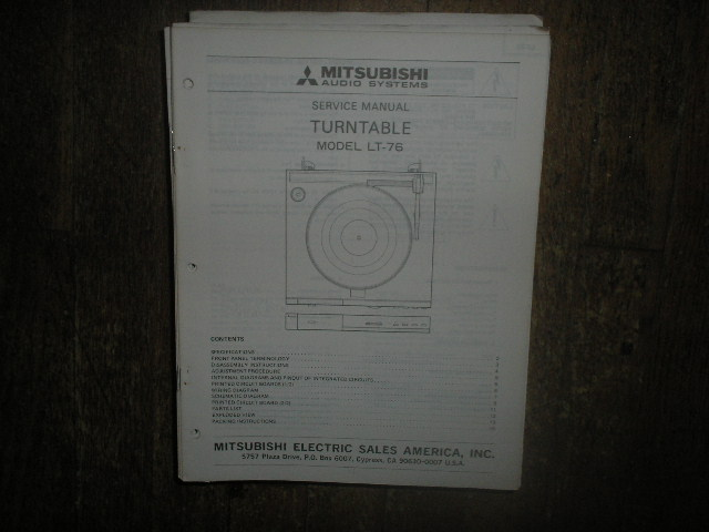 LT-76 TURNTABLE Service Manual