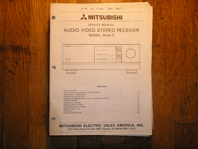 M-AV3  AUDIO VIDEO RECEIVER Service Manual  MITSUBISHI
