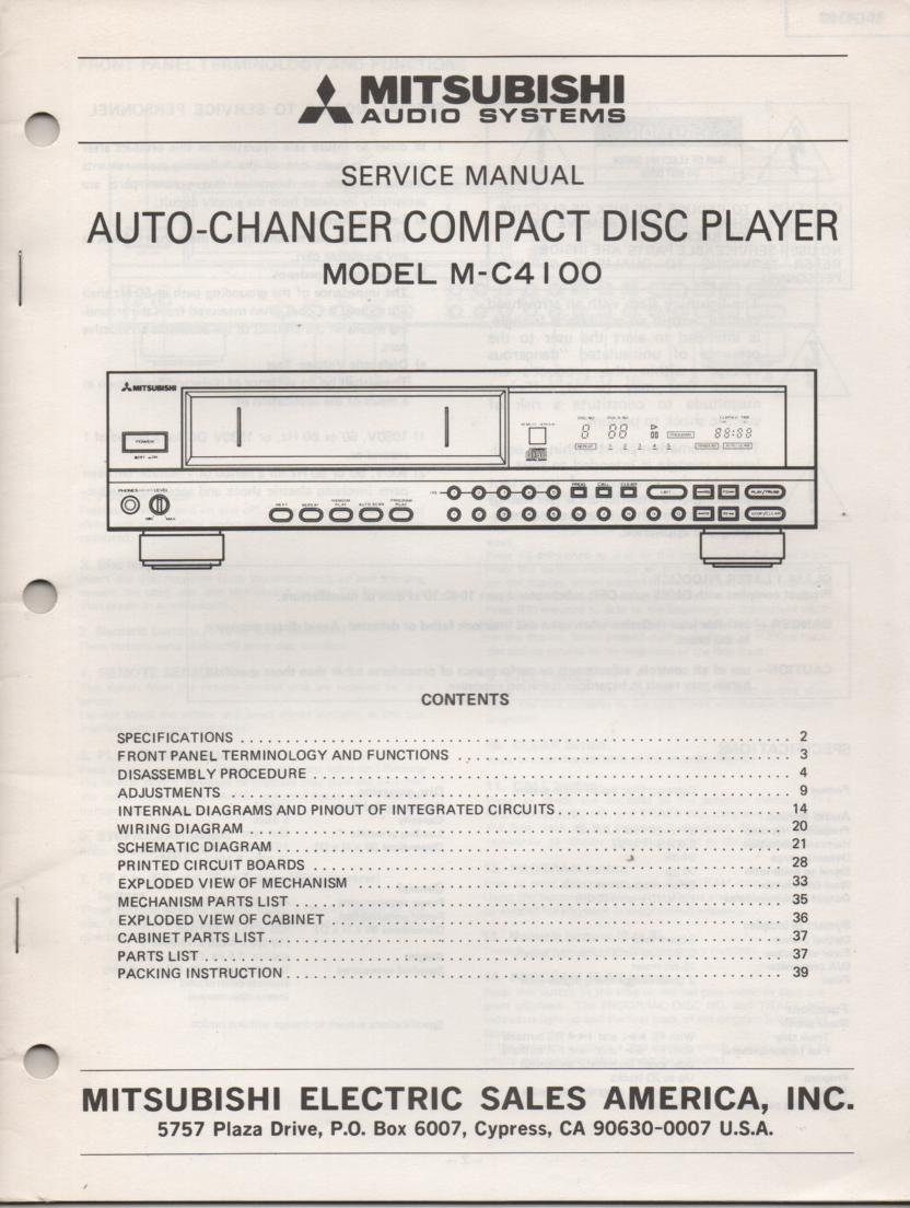 M-C4100 CD PLAYER  Service Manual