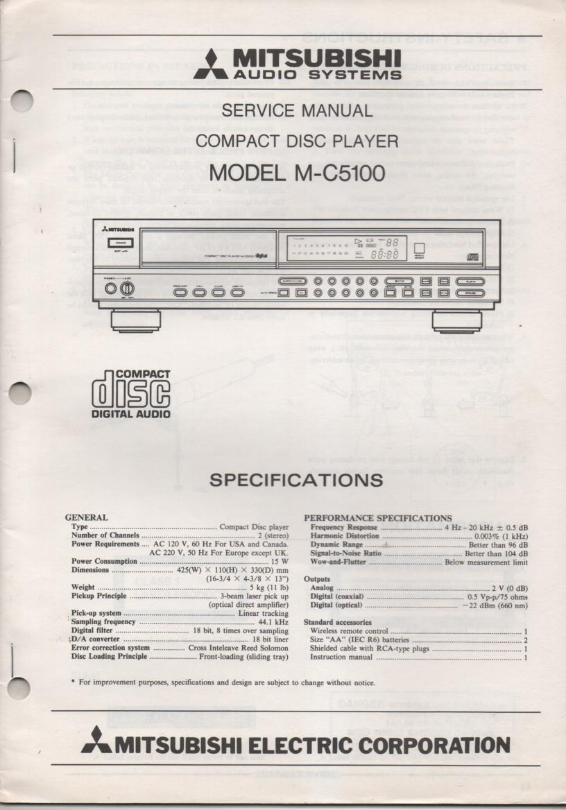M-C5100 CD PLAYER  Service Manual