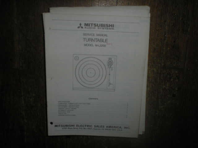 M-L3200 Turntable Service Manual