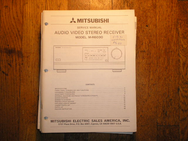 M-R6030  AUDIO VIDEO RECEIVER Service Manual  MITSUBISHI